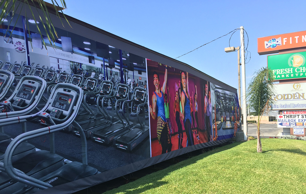 Large fitness sign attached to trailer