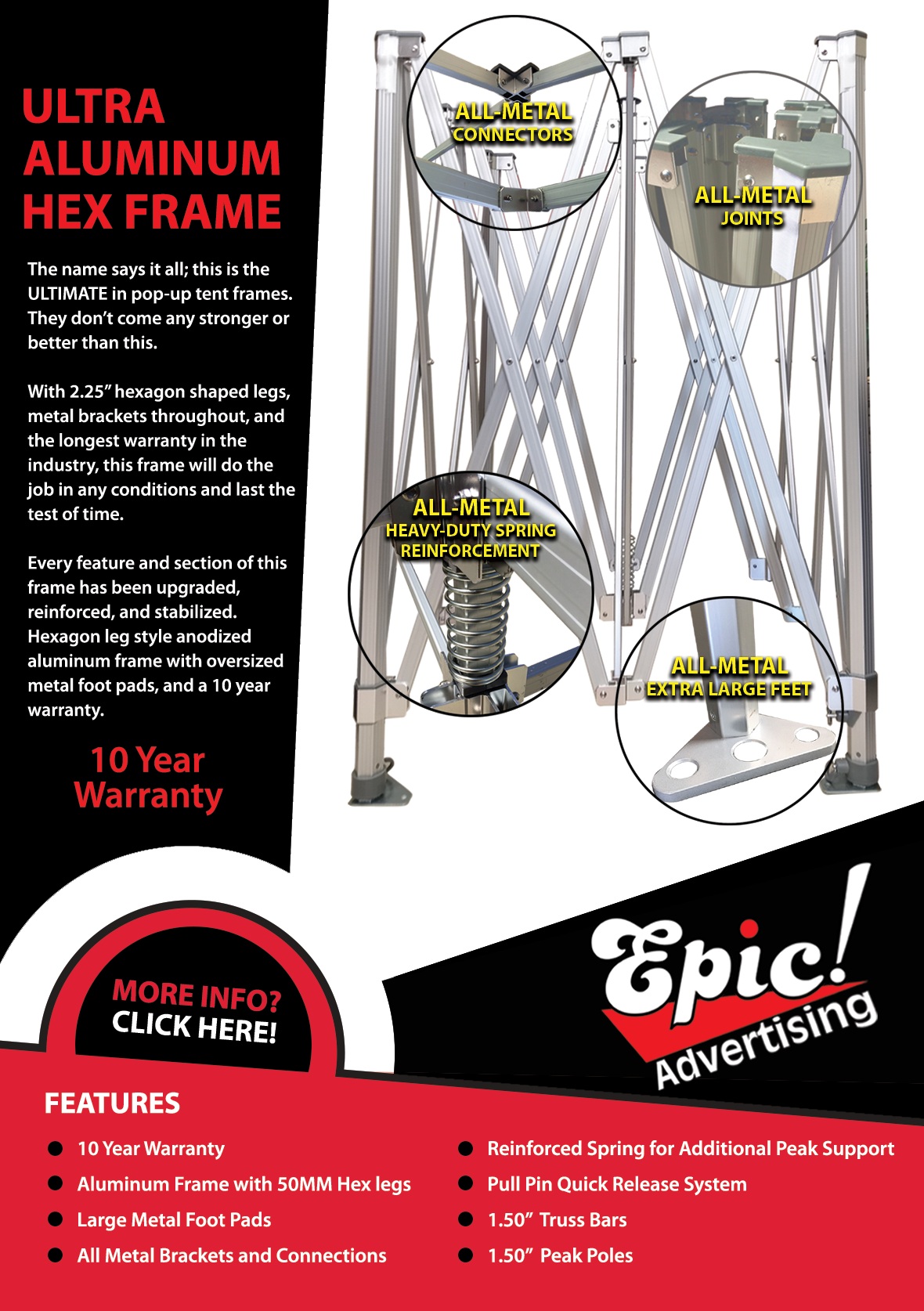 Ultra Aluminum Hex frame for pop up tent